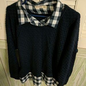 Blue plaid shirt/ sweater top.